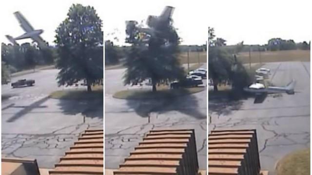 Avião bate em árvore antes de cair em estacionamento nos EUA; assista ao vídeo