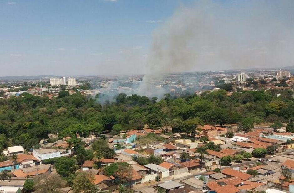Incêndio atinge mata do Jardim Botânico, no Setor Pedro Ludovico