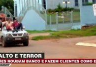 Vídeo mostra ladrões de banco fazendo reféns de escudo