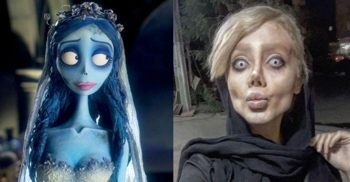 Nas redes sociais, internautas compararam iraniana de 29 anos com a personagem Noiva Cadáver