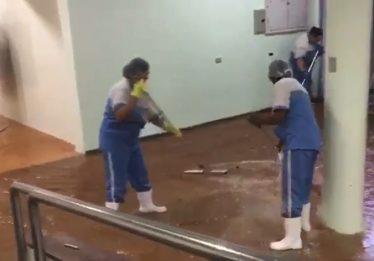 Chuva alaga parte do Hospital das Clínicas em Goiânia