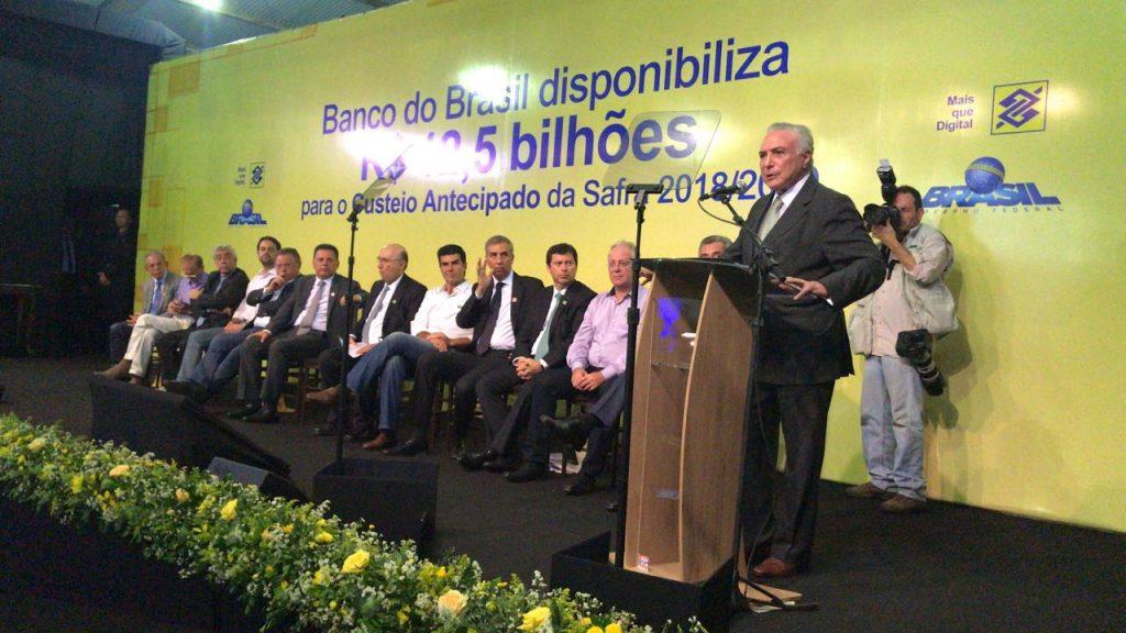 Em Rio Verde, Governo libera R$ 12,5 bilhões para financiar safra agrícola de 2018 e 2019
