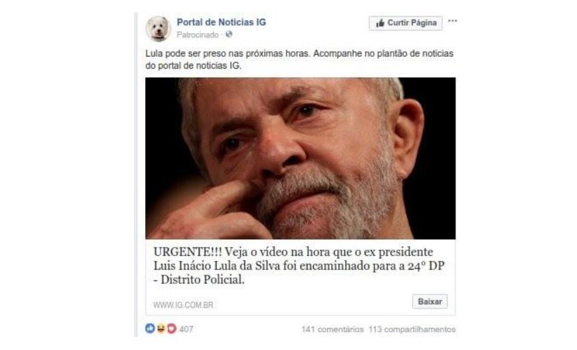 Golpe com vídeo de Lula algemado infecta computador com vírus