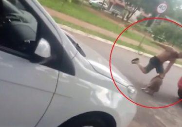 Homem é flagrado em vídeo agredindo cachorro em Goiânia