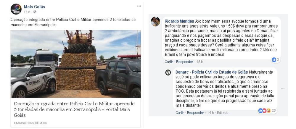 Do interior do presídio, detento comenta notícia do Mais Goiás no Facebook e é pego pela polícia