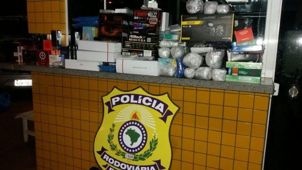 Dois veículos com produtos contrabandeados do Paraguai são apreendidos pela PRF