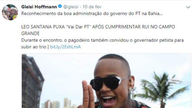 Em gafe, Gleisi vê apoio ao PT em música do Carnaval da Bahia