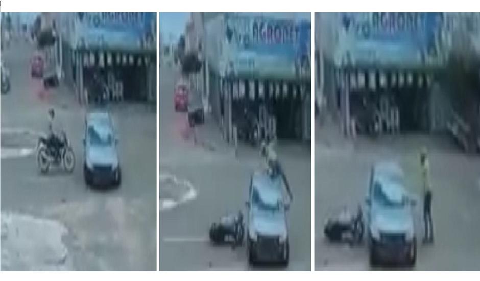 Motociclista sai ileso depois de bater moto em carro e dar cambalhota sobre veículo, em Mineiros