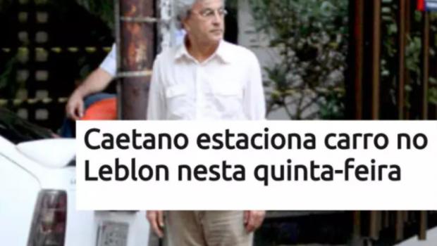 """Com aviso, Caetano lembra meme: """"Faz sete anos que estacionei no Leblon"""""""