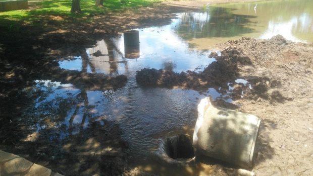 Fissura em galeria pluvial deixa parte do Lago das Rosas seco