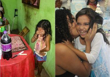 Menina que se emocionou com primeiro bolo de aniversário ganha festa surpresa