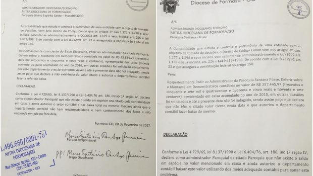 Diocese de Formosa: Documentos apontam que bispo e padres sabiam de desaparecimento de R$ 910 mil