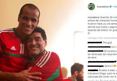Maradona faz homenagem a Rivaldo no Instagram
