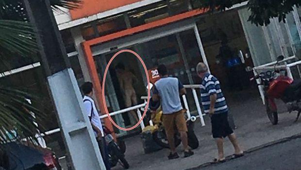 Homem é detido após entrar nu em banco de Goiânia