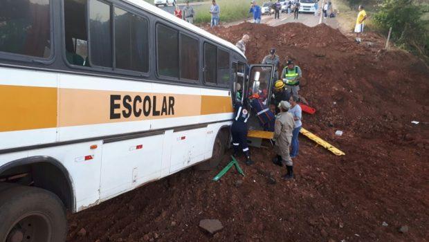 Motorista de ônibus escolar que bateu em obra na GO-080 estava embriagado, diz delegada