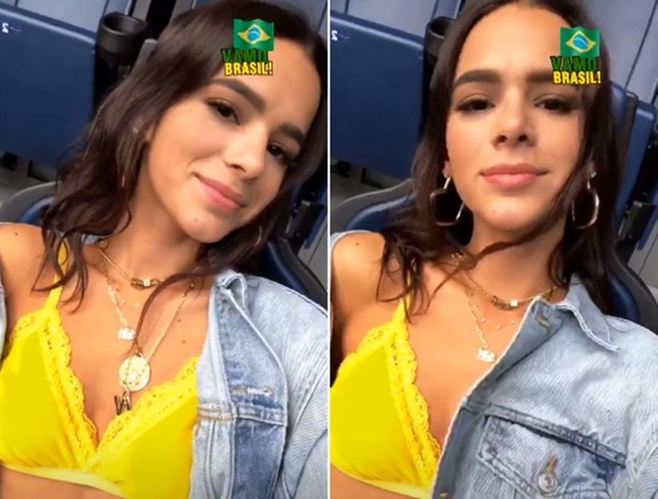 Bruna Marquezine veste sutiã amarelo para torcer pelo Brasil