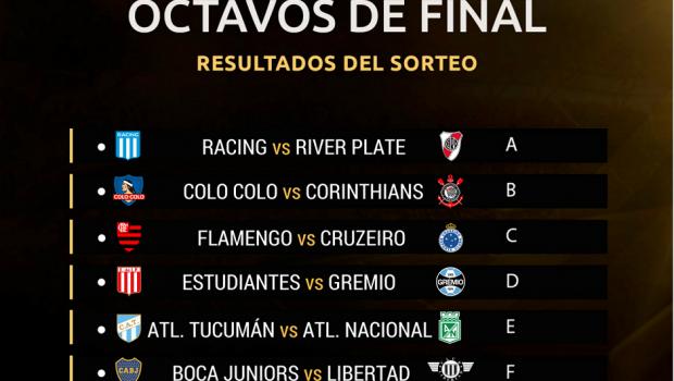 Libertadores terá Flamengo x Cruzeiro nas oitavas
