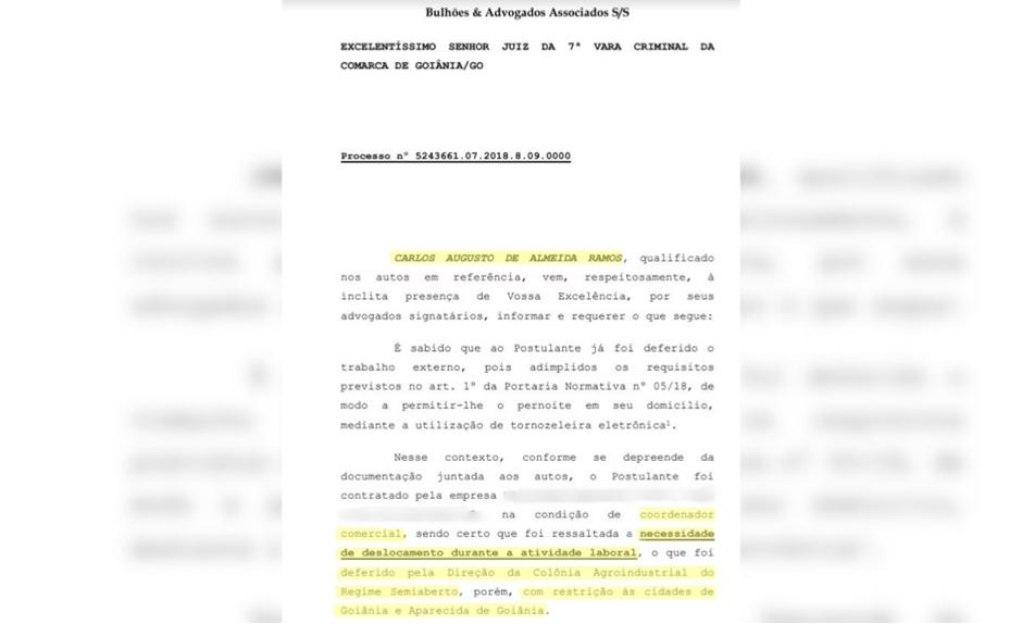 Pedido feito por defesa de Carlinhos Cachoeira (Foto: Reprodução / Mais Goiás)