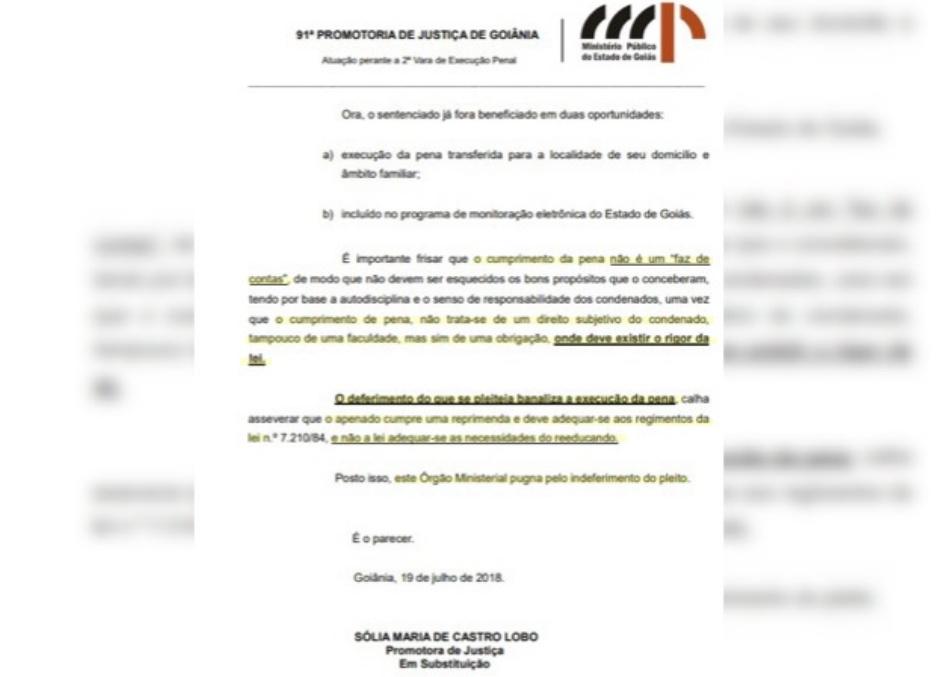 Pedido feito por Cachoeira é rechaçado por promotora (Reprodução: Ministério Público Estadual)