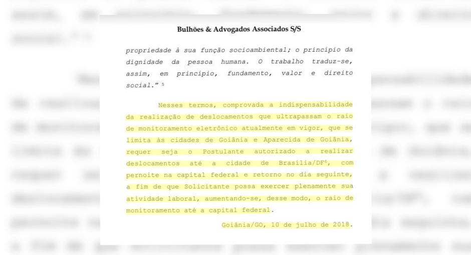 """Pedido de Carlinhos Cachoeira: """"Deslocamentos até Brasília-DF, com pernoite e retorno no dia seguinte"""" (Foto: Reprodução / Mais Goiás)"""