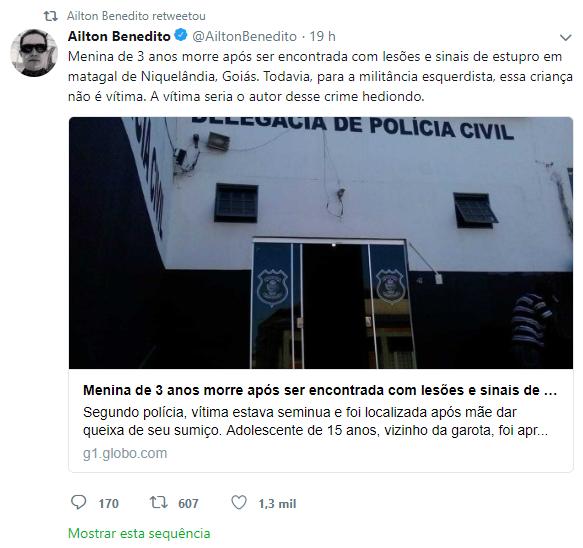 Postagem em rede social de Procurador da República Ailton Benedito (Foto: Reprodução)