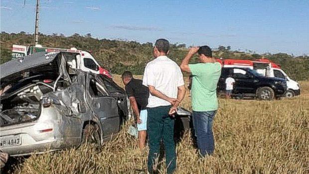 Capotamento deixa uma criança morta e quatro feridos na GO-060, em São Luis dos Montes Belos