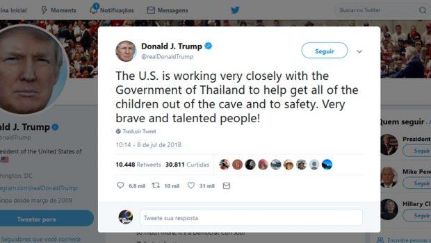 Pelo Twitter, Trump ressalta ajuda dos EUA em resgate de meninos na Tailândia