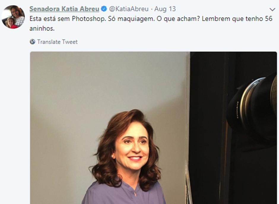 Kátia Abreu brinca na internet e reconhece manipulação em foto (Reprodução)