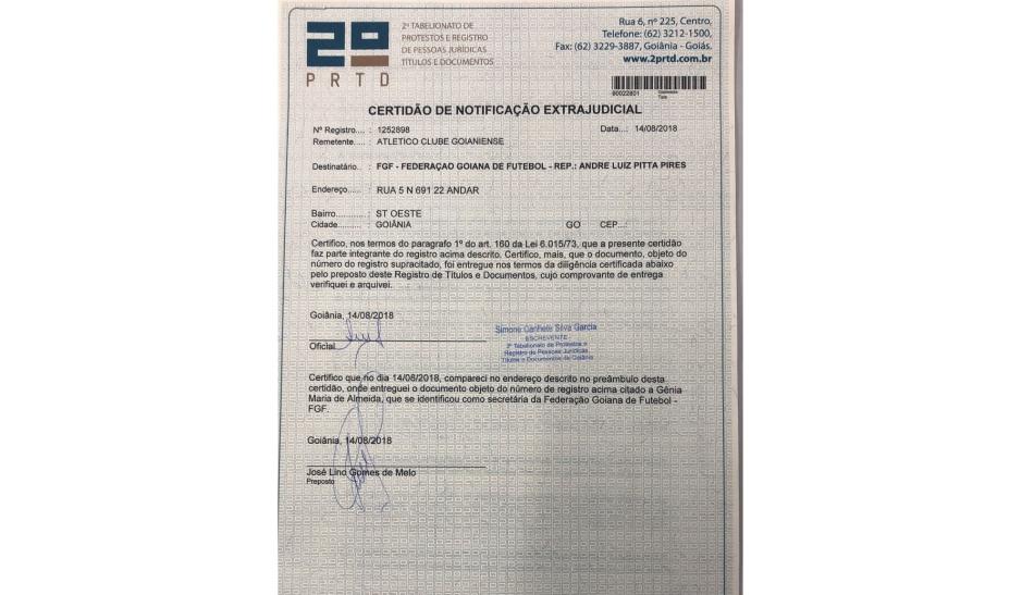 Notificação Extrajudicial encaminhada pelo Atlético à Federação Goiana de Futebol: Transparência em Informações (Reprodução)