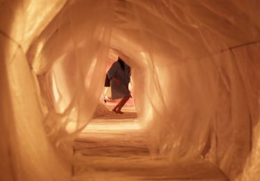 Instalação de esôfago gigante ocupa Vila Cultural Cora Coralina, em Goiânia