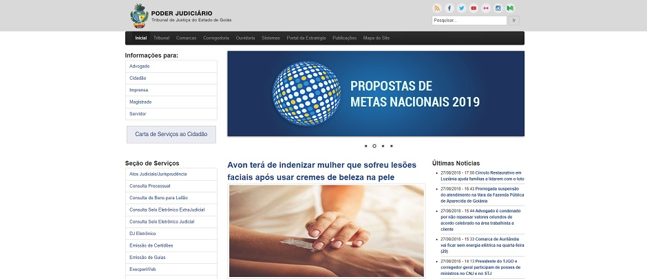 Portal do Tribunal de Justiça do Estado de Goiás, já com alteração da logomarca, substituída pelo brasão do Estado (Foto: Reprodução)