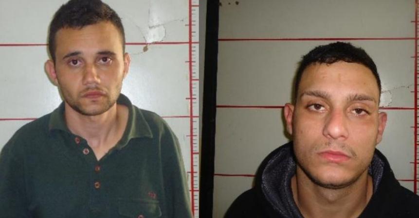 Polícia Civil apresenta dois suspeitos de explodir agência bancária na Avenida T-7, em Goiânia