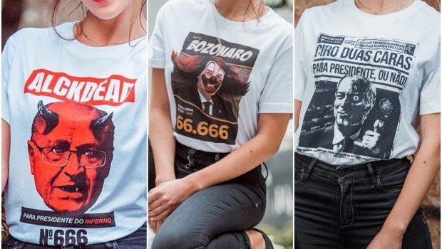 Marca lança linha de camisetas que faz sátira de presidenciáveis