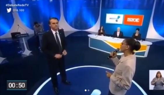 Bolsonaro e Marina têm embate sobre direitos da mulher e elevam tensão em debate