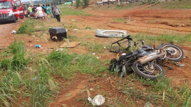 Motociclista fica ferido ao ser atingido por veículo na GO-070, em Goiânia
