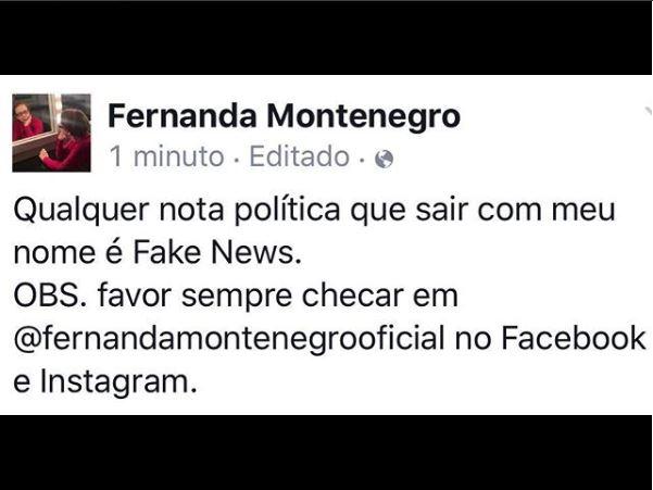 Fernanda Montenegro: Fake news (Foto: Reprodução)