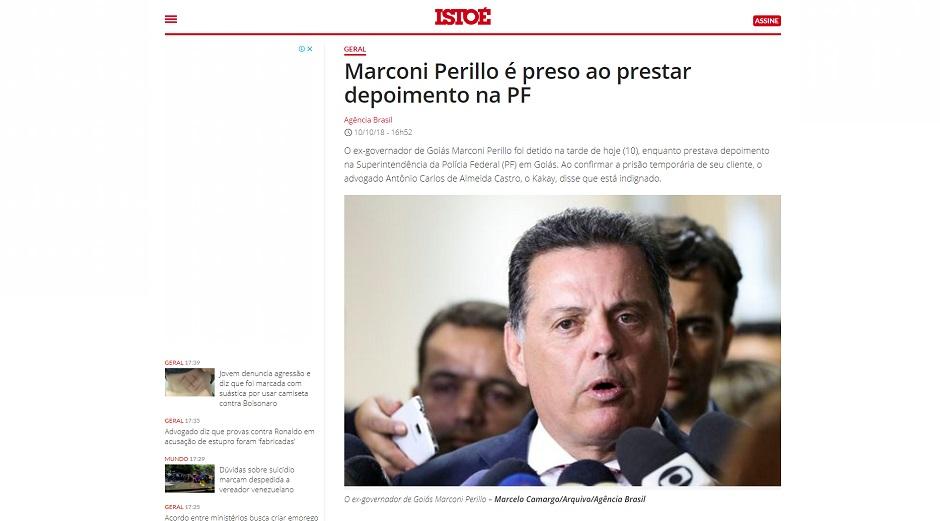 """IstoÉ: Marconi Perillo é preso ao prestar depoimento na PF"""" (Foto: Reprodução)"""