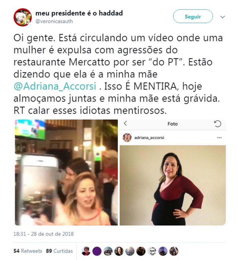 """Adriana Accorsi nega que tenha sido expulsa de bar em Goiânia: """"é só ver a foto para comprovar"""""""
