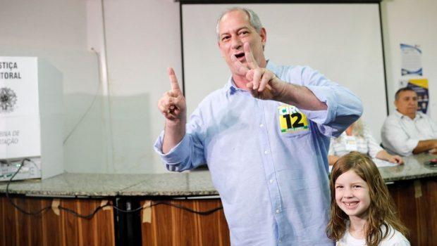 Em 3º nas pesquisas, Ciro vota no Ceará e diz que acredita na vitória