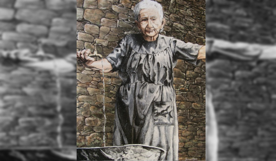 Obra do artista Auriovane D'Ávila, goiano que aprimorou técnica de pintura com areia em tela (Foto: Arquivo Pessoal)
