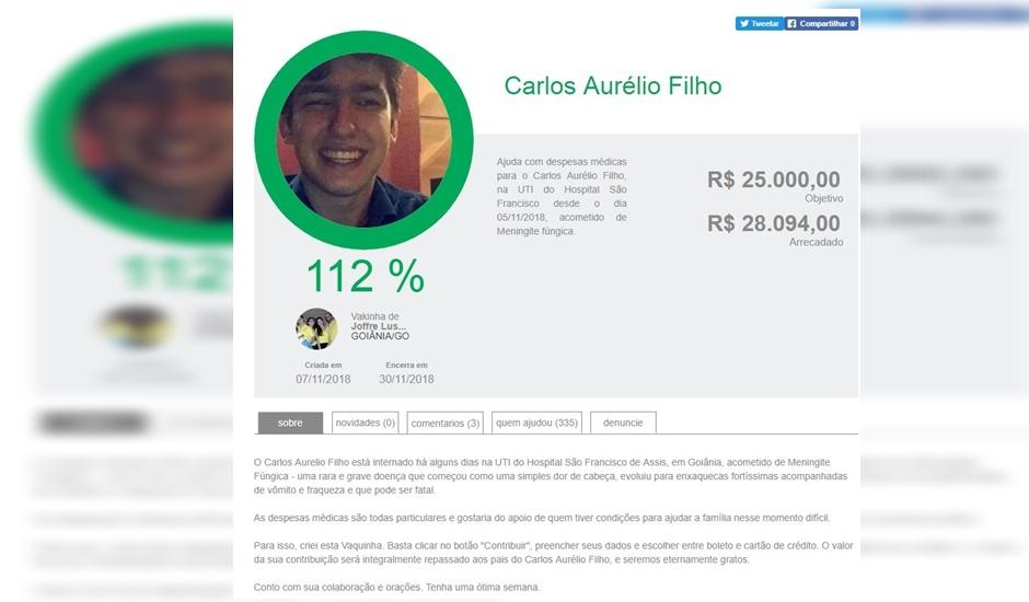 Amigos e familiares de Carlos Aurélio Tancredi Araújo Filho, de 20 anos, se uniram para arcar custas de tratamento de jovem, que morreu com meningite fúngica em Goiânia (Foto: Reprodução / Arquivo Pessoal)