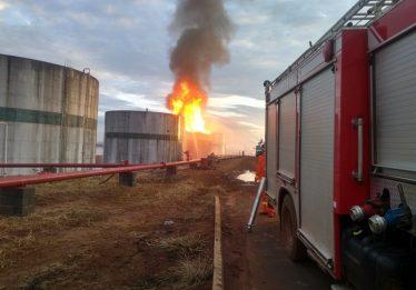 Incêndio de grandes proporções atinge usina, em Serranópolis