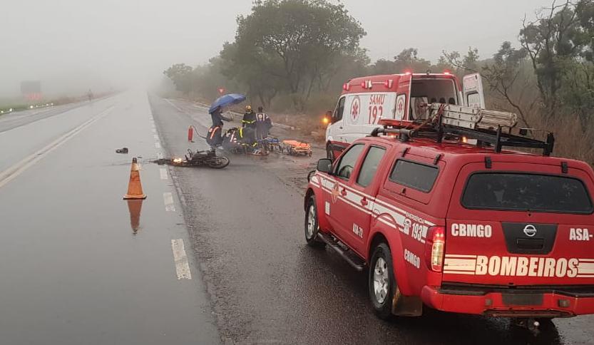 Colisão deixa motociclista ferido, na BR-020, em Formosa