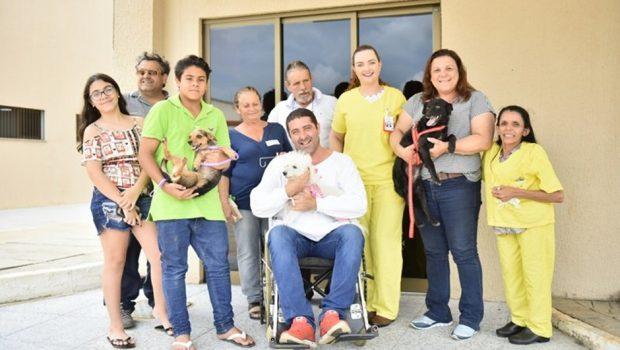 Cadelas visitam dono hospitalizado para ajudar na recuperação