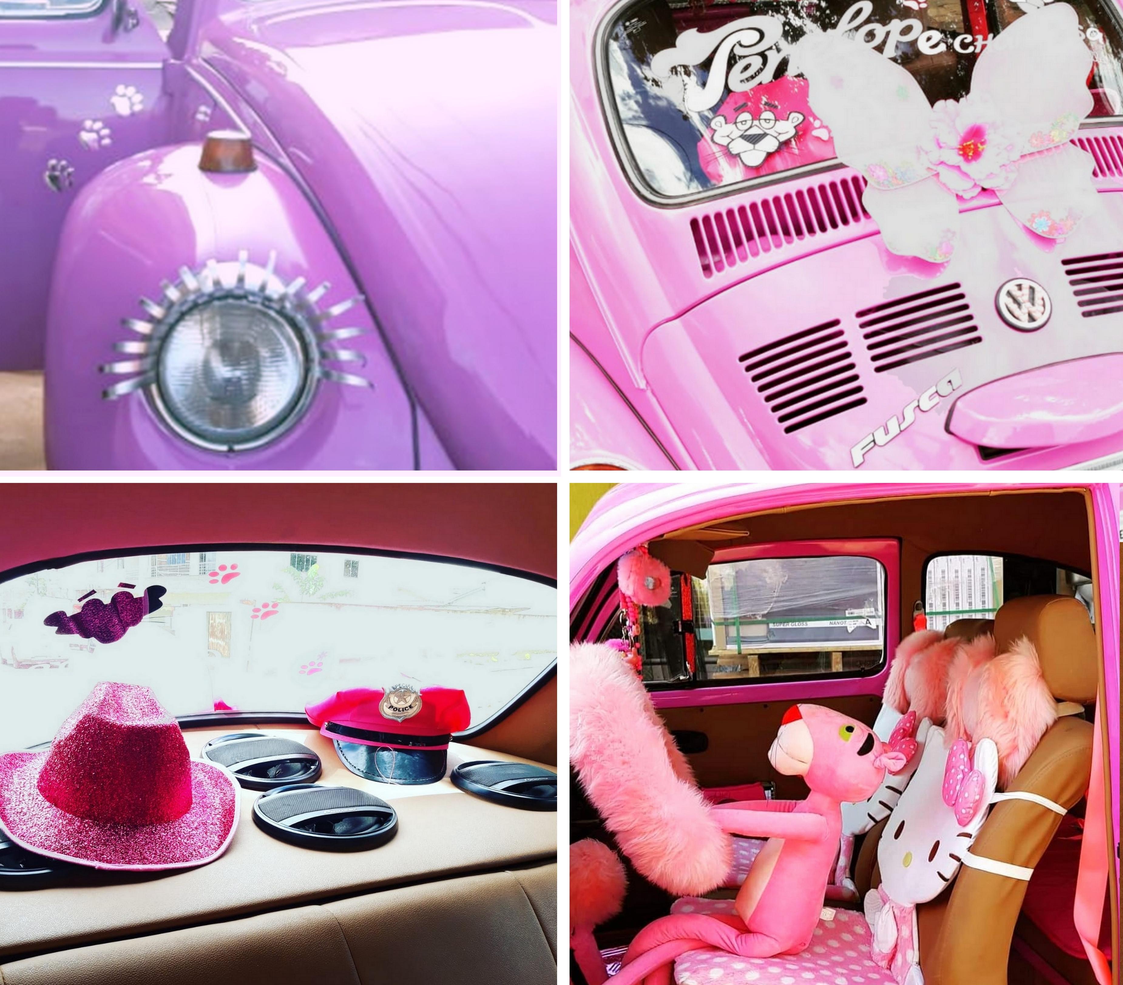 Pelúcia, chapéus, adesivos, Hello Kitty, asas e até cílios compõe a Penélope (Fotos: Arquivo pessoal / Lailla Cristina)