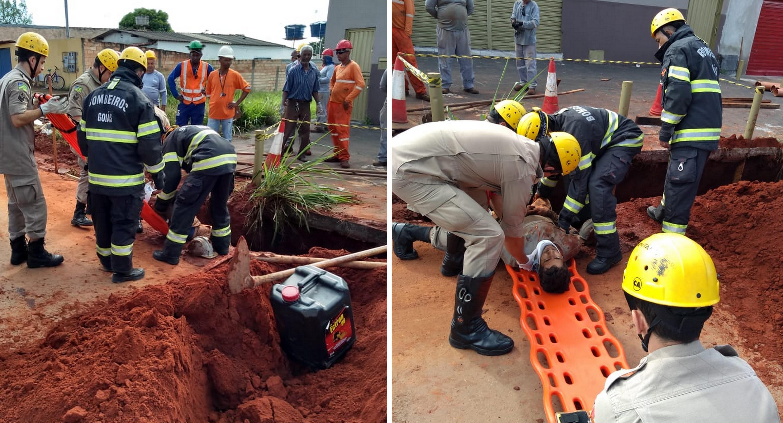 A vítima de soterramento ficou com terra até o tórax (Foto: Divulgação/Corpo de Bombeiros)