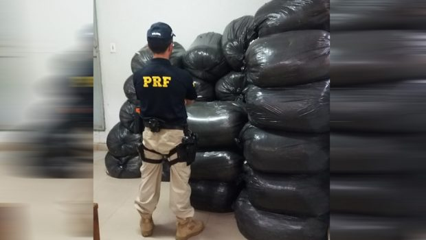 PRF apreende 700 kg de café sem nota fiscal dentro de bagageiro de ônibus, em Jaraguá