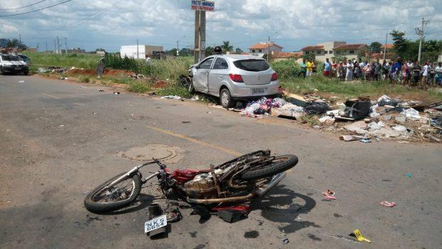 Adolescente morre após moto colidir com veículo no Jardim do Cerrado VII, em Goiânia