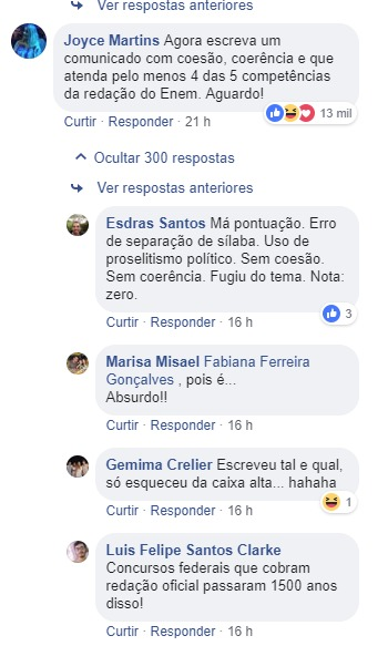 A nota do Mec gerou repercussão nas redes sociais (Foto: Reprodução / Facebook)