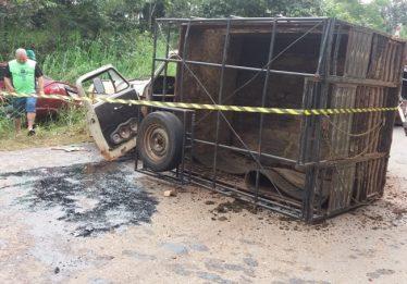 Colisão frontal termina com duas mortes na GO-215, em Pontalina